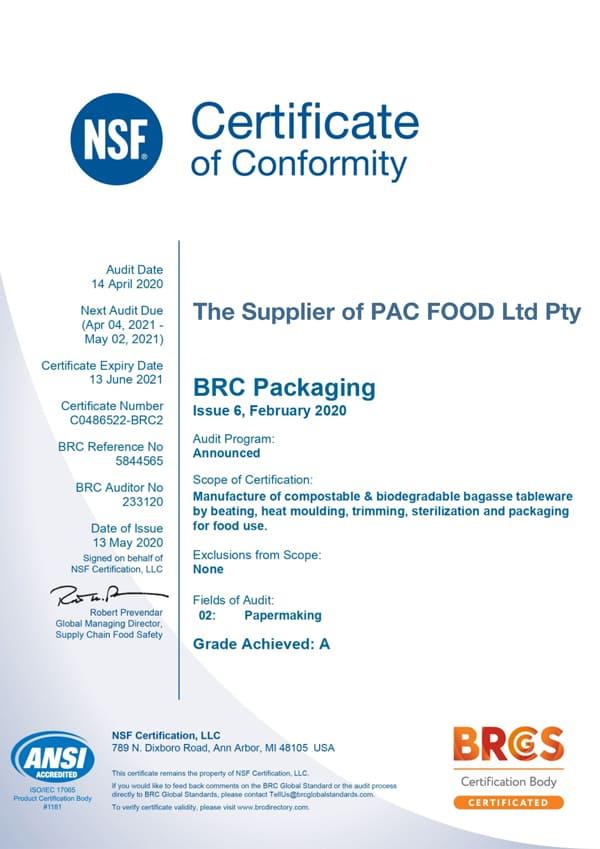 EKO PAK BRC Certificate