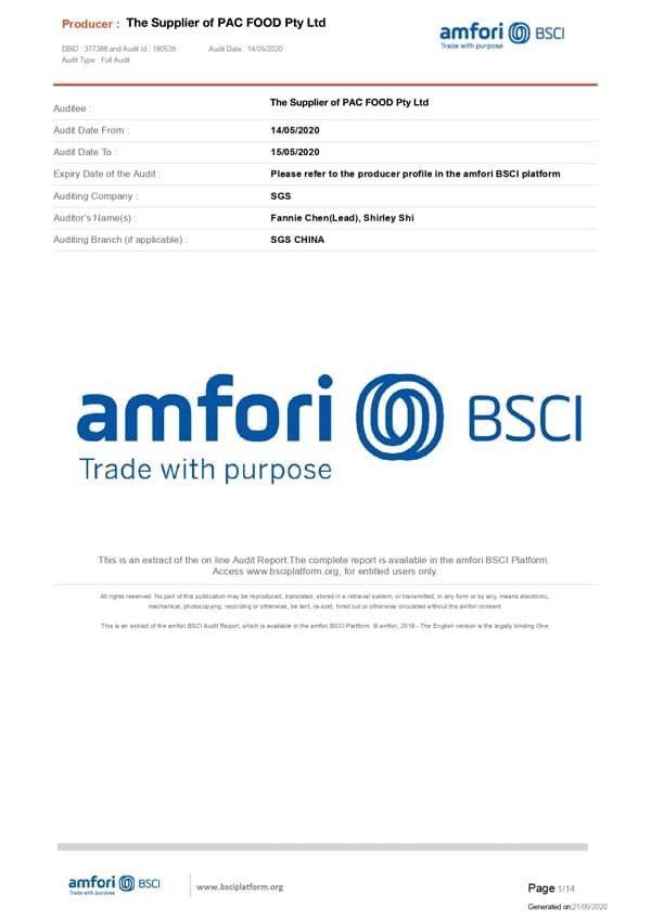 EKO PAK BSCI Certificate