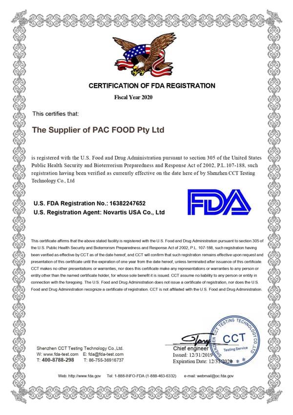 EKO PAK FDA Certificate