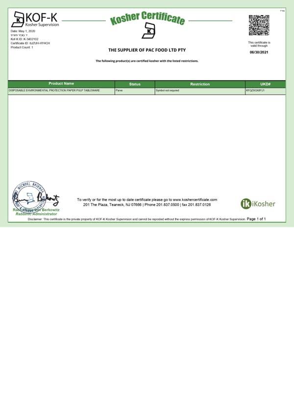 EKO PAK KOSHER Certificate