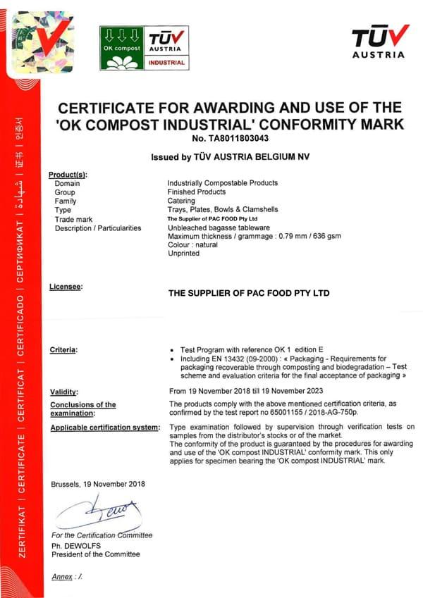 EKO PAK OK COMPOST Certificate